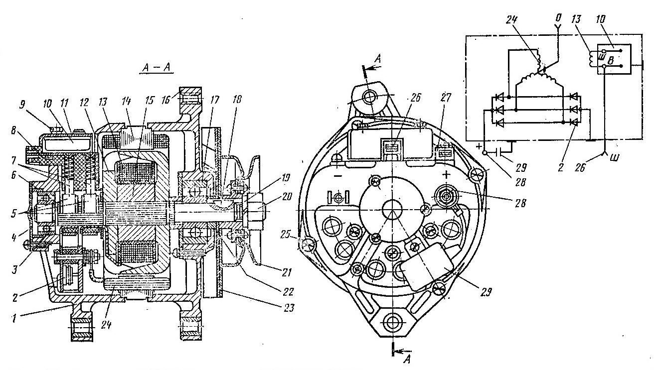 електрическая схема для москвич 2140